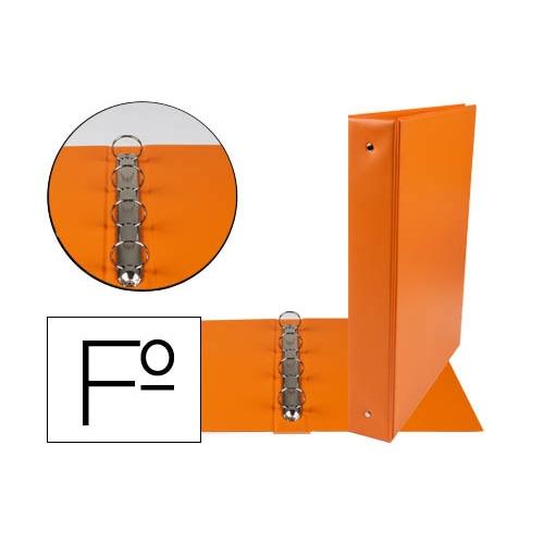 Liderpapel 73751. Carpeta folio 4 anillas 40 mm redondas plástico color naranja