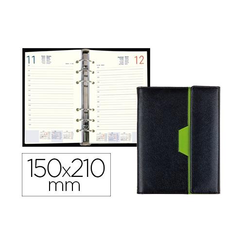 Liderpapel 7488. Agenda anillas nero 15x21 cm 2020 día página color negro/verde