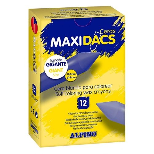 ALPINO DX060132. Estuche de 12 ceras MaxiDacs color marrón