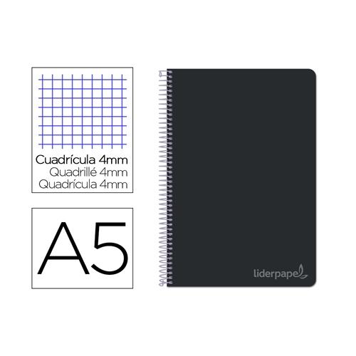Liderpapel BC23. Cuaderno espiral negro cuarto witty tapa dura 80 h 75 gr cuadro 4 mm con margen