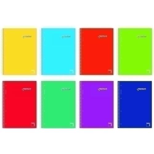 PACSA 16403 Cuaderno premium 160 hojas tapa dura, A4 Cuadrícula 5x5 70 g. Colores surtidos