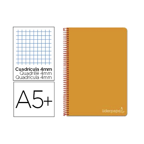Liderpapel BC26. Cuaderno espiral naranja cuarto witty tapa dura 80 h 75 gr cuadro 4 mm con margen