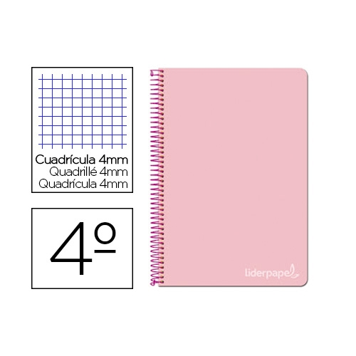 Liderpapel BC58. Cuaderno espiral rosa cuarto witty tapa dura 80 h 75 gr cuadro 4 mm con margen