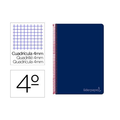 Liderpapel BC82. Cuaderno espiral azul marino cuarto witty tapa dura 80 h 75 gr cuadro 4 mm con margen