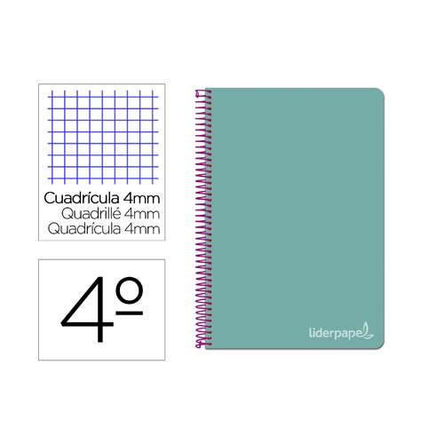 Liderpapel BC83. Cuaderno espiral turquesa cuarto witty tapa dura 80 h 75 gr cuadro 4 mm con margen