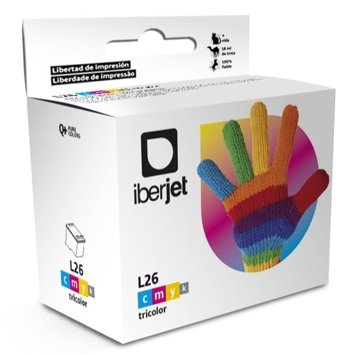 Iberjet L26 Cartucho de tinta 3 colores, reemplaza a Lexmark 10N0026E Nº 26 / 10N0227 Nº 27