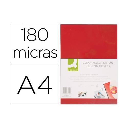 Q-Connect KF18098. Tapa de encuadernación roja PVC DIN A4 - 180 micras caja de 100