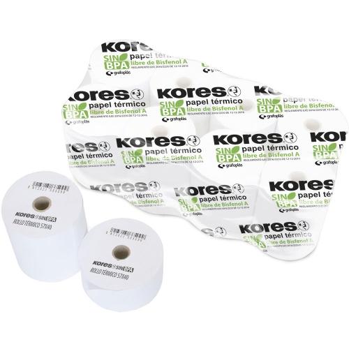 KORES 56654500. Pack 10 rollos de papel térmico sin PBA de 57x55x12 mm.