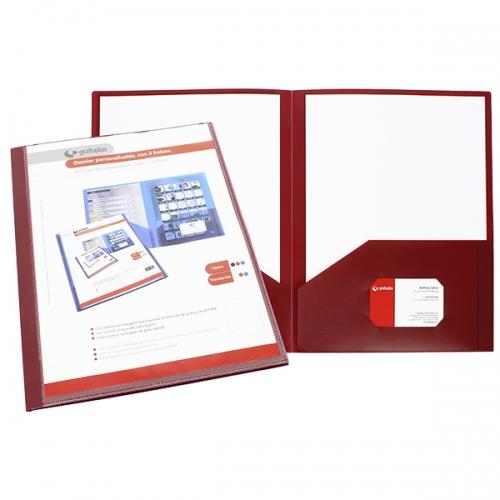 GRAFOPLÁS 30101651 Dossier personalizable con 2 bolsas de polipropileno opaco rojo