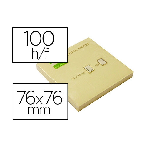 Q-CONNECT KF10502 Bloc de notas adhesivas amarillas 76x76 mm. 100 hojas. Pack 12