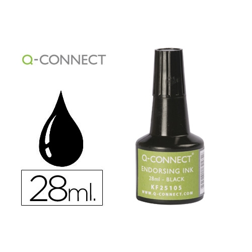 Q-Connect KF25105. Tinta negra para tampón - frasco de 28 ml.