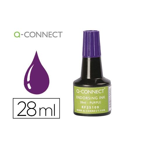 Q-Connect KF25109. Tinta violeta para tampón - frasco de 28 ml.