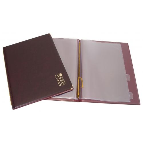 GRAFOPLÁS 06114550. Portamenús de cordón folio con cantoneras doradas