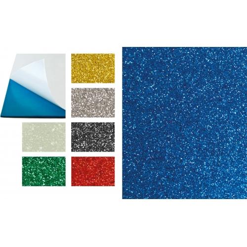 GRAFOPLAS 68015620. Pack 5 láminas de Goma Eva purpurina adhesiva de 40 x 60 cm. Color verde