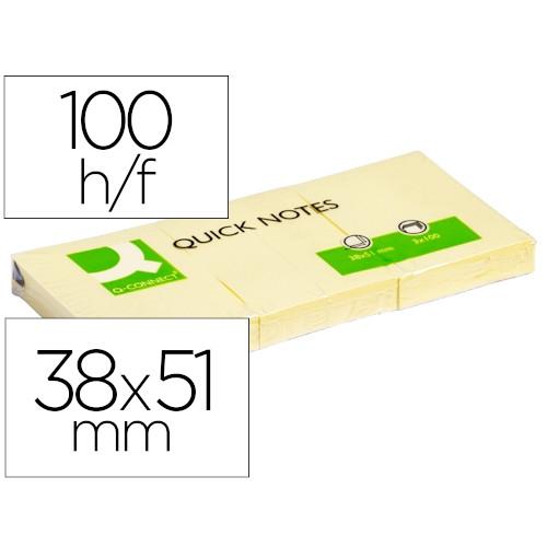 Q-CONNECT KF10500 Bloc de notas adhesivas amarillas 38x51 mm. 100 hojas. Pack 12
