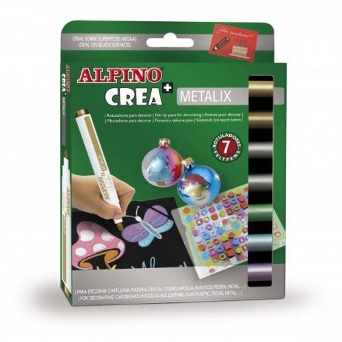 ALPINO AR000134. Estuche de 7 rotuladores Crea Metalix. Colores Surtidos