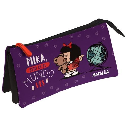 GRAFOPLAS 37546102. Estuche escolar portatodo triple Mafalda Mundo