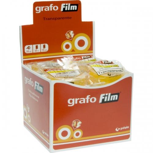GRAFOPLÁS 19330100 Rollo de cinta adhesiva transparente de 19 mm X 33 m.