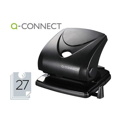 Q-CONNECT KF01235 Taladrador negro 27 hojas con regleta tope. Abertura 2,7 mm.