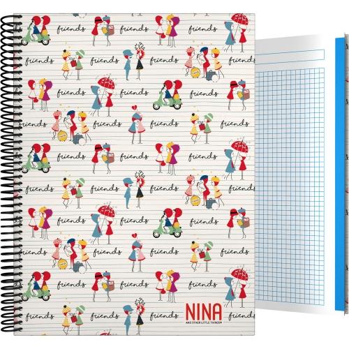 GRAFOPLÁS 16502614. Cuaderno tapa dura A4, 100 hojas, Nina Friends
