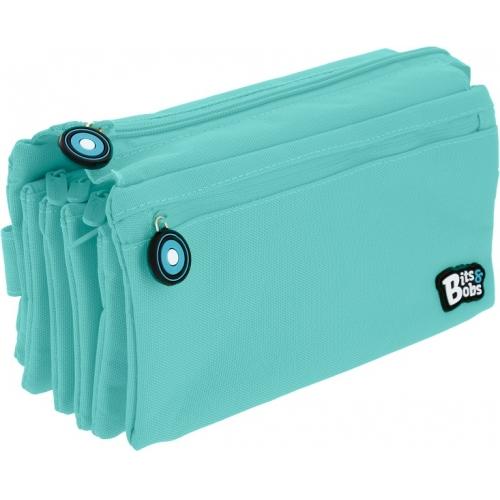 GRAFOPLAS 37543331. Estuche escolar portatodo cuádruple plano Bits&Bobs azul claro