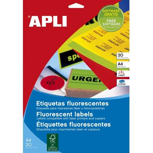 APLI 15074. Etiquetas amarillo fluorescente permanentes 38,1 x 21,2 mm 20 hojas