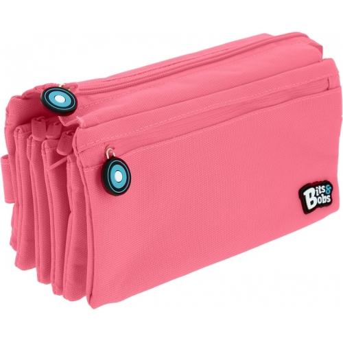 GRAFOPLAS 37543353. Estuche escolar portatodo cuádruple plano Bits&Bobs rosa claro