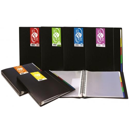GRAFOPLAS 39405010. Carpeta de 50 fundas extraíbles In&Out A4 opaca, color negro