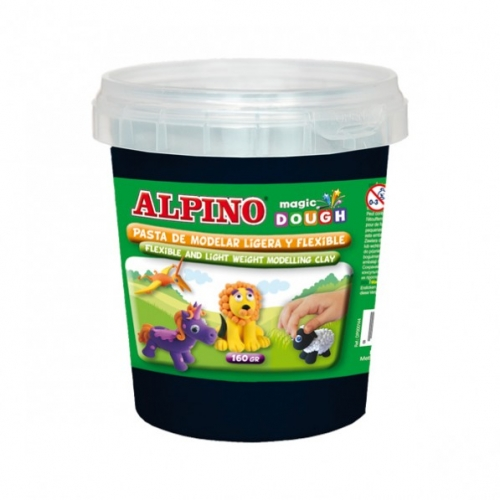 ALPINO DP000150. Bote de pasta modelar Magic Dough 160 gr negro
