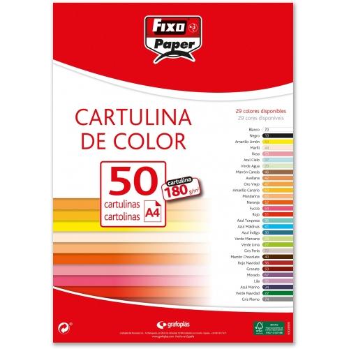 Fixo Paper 11110627 180g//m/² tama/ño A4 Pack de 15 cartulinas de color verde lima