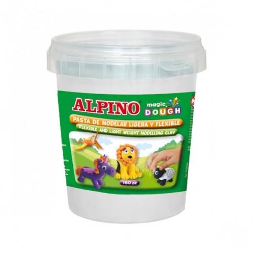 ALPINO DP000143. Bote de pasta modelar Magic Dough 160 gr blanco
