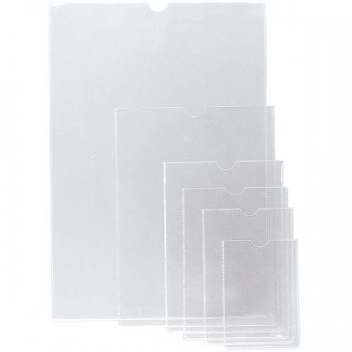 GRAFOPLÁS 05640000. Pack 50 fundas transparentes PVC flexible 111 x 79 mm. con uñero