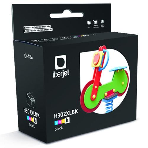 Iberjet H302XLBK Cartucho de tinta negro, reemplaza a HP F6U68AE Nº 302XL / F6U66AE Nº 302