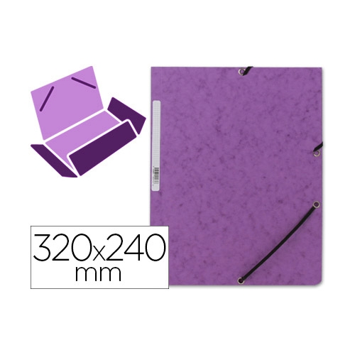 Q-Connect KF02171. Carpeta violeta gomas y solapas carton simil-prespan 320x243 mm.