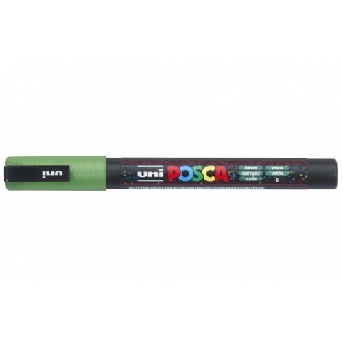 UNI POSCA PC-3ML Verde purpurina. Marcador de pintura no permanente. Trazo 0,9-1,3 mm.