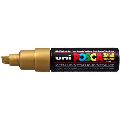 UNI POSCA PC-8K Oro metálico. Marcador de pintura no permanente. Trazo 8,0 mm