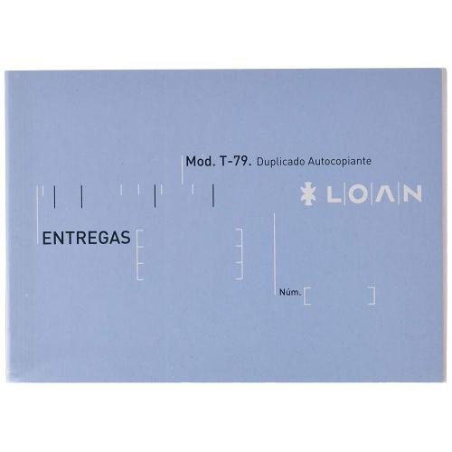 LOAN T-79. Talonario notas de entrega 8º apaisado duplicado autocopiante (15 x 10,5 cm.)