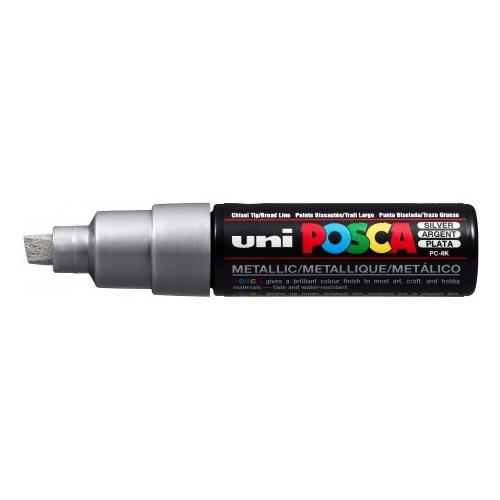 UNI POSCA PC-8K Plata metálico. Marcador de pintura no permanente. Trazo 8,0 mm
