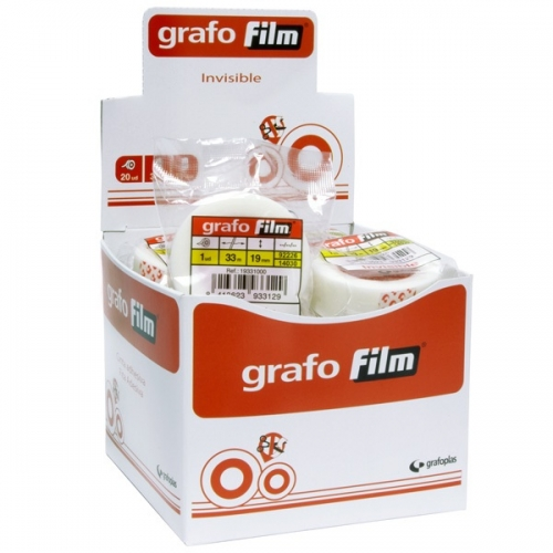 GRAFOPLÁS 19331000 Rollo de cinta adhesiva invisible 19 mm X 33 m.