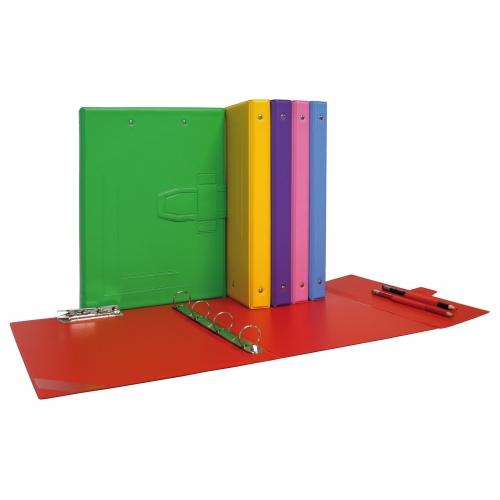 GRAFOPLÁS 08362556. Pack 2 carpetas de anillas y miniclip de PVC rojo carmín