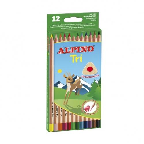 ALPINO AL000128. Estuche de 12 lápices de colores triangulares