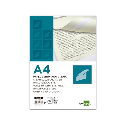 Liderpapel VJ03. Papel verjurado A4 120 g/m2 crema paquete de 100
