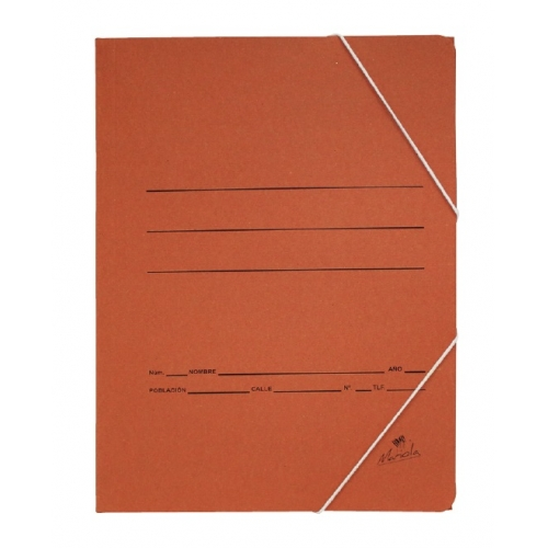 Mariola 1185. Carpeta de gomas 3 solapas folio color cuero