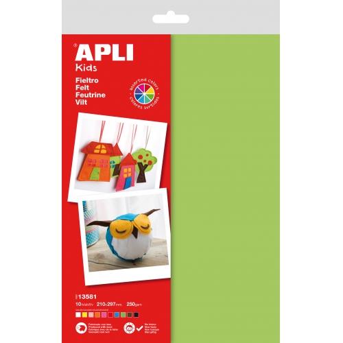 APLI 13581. Fieltro A4 colores surtidos (10 hojas)