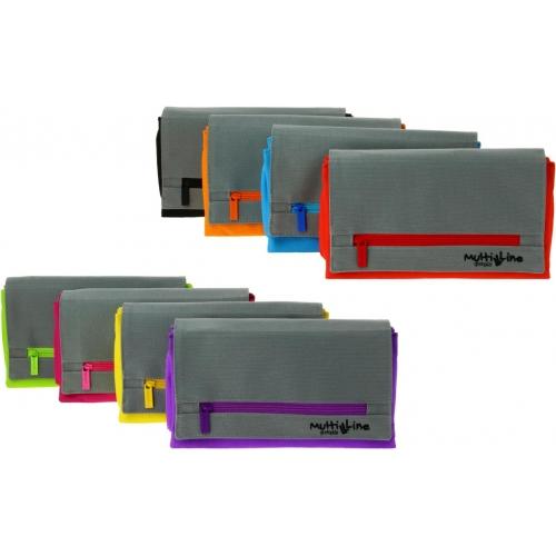 GRAFOPLAS 37540835. Estuche escolar portatodo triple plano con solapa Multiline violeta