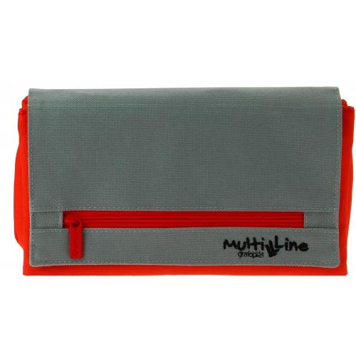 GRAFOPLAS 37540851. Estuche escolar portatodo triple plano con solapa Multiline rojo