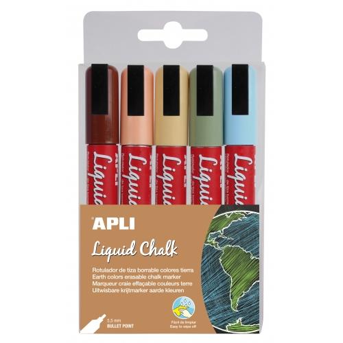 APLI 14735. 5 rotuladores de tiza líquida punta redonda colores tierra (5,5 mm.)