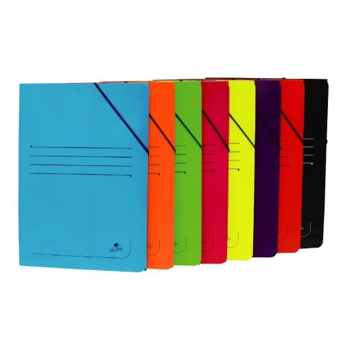 Mariola 1523AZ. Carpeta de gomas 3 solapas folio cartón brillo color azul