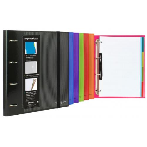 GRAFOPLÁS 88102051. Pack 2 carpetas de anillas forradas CarpeBook Multiline A4. Color rojo