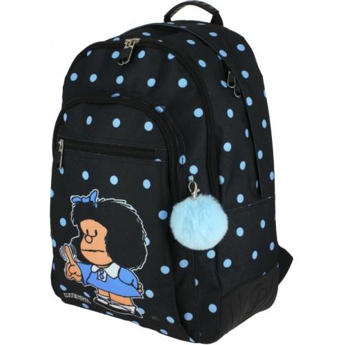 GRAFOPLAS 37500172. Mochila escolar Rubber Mafalda Lunares